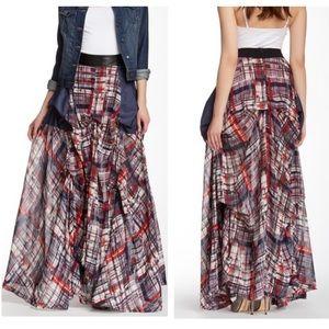 TOV Holy Plaid Maxi Skirt